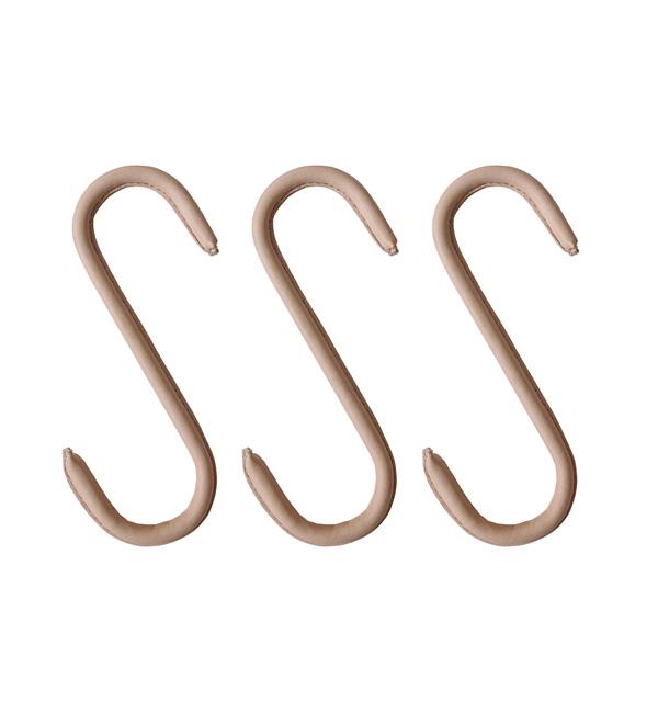 Nordic Function Upgrade læder s-kroge i naturlæder til ophænging s hooks for entrance hall in natural leather on steel frame