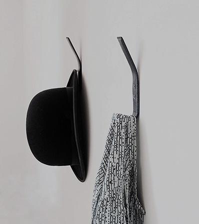 Nordic Function leather coat hook i sort design entre entrance hall hooks in leather black