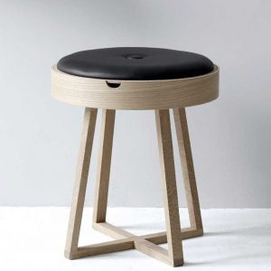Nordic Function Not just a table i eg og sort læder combined stool and table in oak wood and black leather