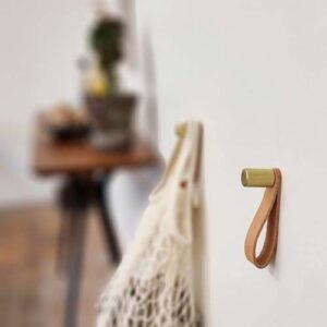 Nordic Function ShineUP Brass hook with leather strap for hangers
